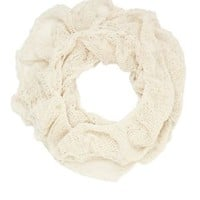 Metallic Scrunched Infinity Scarf by Charlotte Russe - Ivory