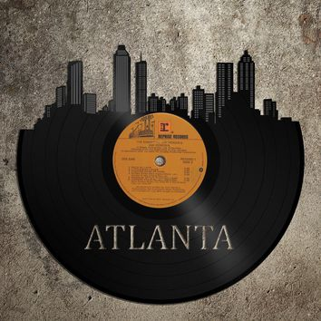 Atlanta Skyline, Wall Art Atlanta, Old Album Art, Best Wall Art Idea, Emory Dorm Art, Cool Wall Art Idea, Ecofriendly Wall Art, Atlanta Fan