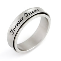 """Friend Ring - Spinner Bff Ring Engraved with """"Forever Friends"""", Sizes 6 to 9"""