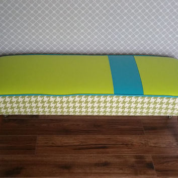 Custom Bench, Vinyl Footstool with Green Houndstooth, Handmade Benches, Ottomans, & Footstools