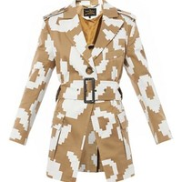 Pixelated leopard-print cotton coat