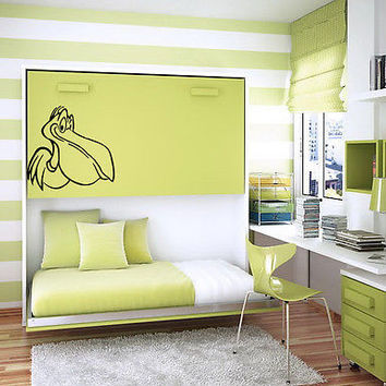 KID WALL VINYL DECAL STICKER BABY ROOM NURSERY BEDROOM FUNNY BIRD PELICAN  M479