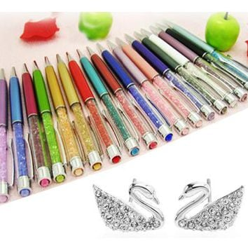 New gift Luxury Crystal Pen big diamond on top for students Crystalline Lady Ballpoint Pen stationery Xmas Christmas gift