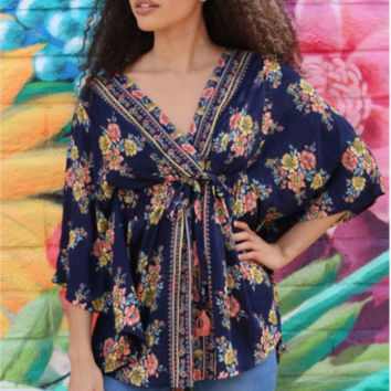 Floral Print Tunic Top with Tassle Accent