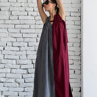 New! Long Maxi Dress/Grey and Burgundy Oversize Kaftan/Sleeveless Pocket Dress/Red Caftan Dress/Plus Size Casual Dress/Oversize Tunic Dress