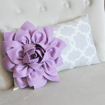 Lilac Dahlia on Neutral Gray Tarika Print Lumbar Pillow 9 x 16