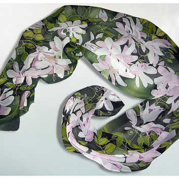 Long Silk Scarf handmade Clematis Flowers hand painted handmade scarves- fresh green pink white