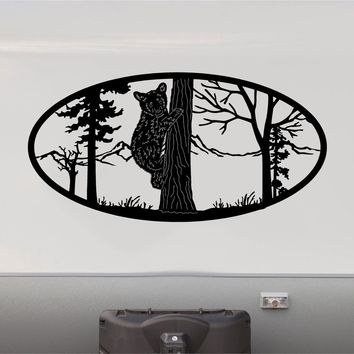 Bear Climbing Tree Mountains RV Camper 5th Wheel Motorhome Vinyl Decal Sticker Graphic Custom Text Mural