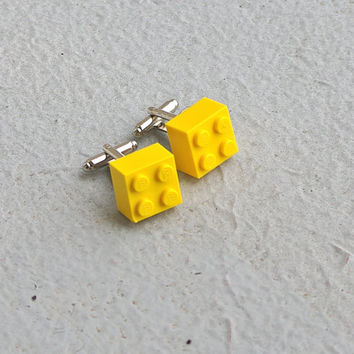 Lego Cufflinks Yellow Brick Lego Cuff Links Building Block geeky boyfriend hubby anniversary handmade upcycled recycled toy
