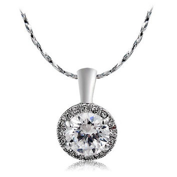 Rigant Round-cut Crystal Necklace (Silver)
