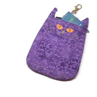 Cat shaped phone purse, zippered phone wallet, purple cat pouch, zippered pouch, cat gadget case, cat lover gift, zippered cat coin purse