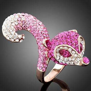 Chran Crystal Pink Stone Animal Ring