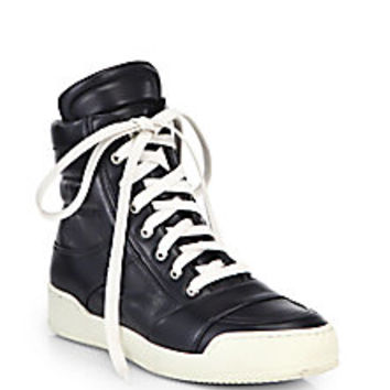 Balmain - Leather High-Top Sneakers - Saks Fifth Avenue Mobile