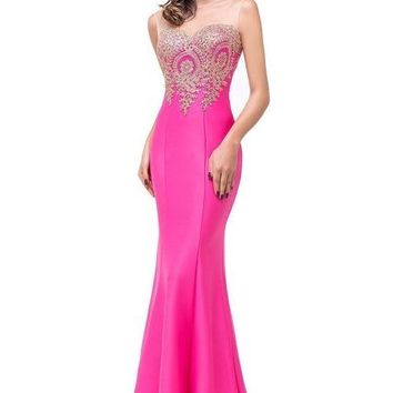 Women's Elegant Long Backless Mermaid Style Lace Evening Party Prom Dress