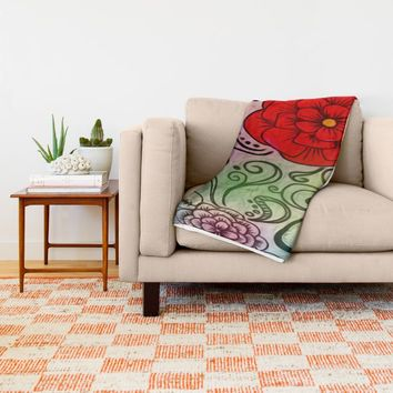 Faux Floral Prism Throw Blanket by DuckyB (Brandi)