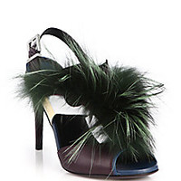 Fendi - Bugs Fox Fur & Leather Sandals - Saks Fifth Avenue Mobile