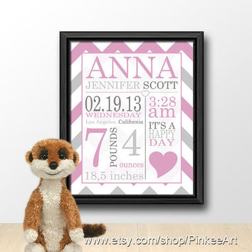 personalized baby birth art pink, baby name art, birth announcement wall art, baby birth details, nursery subway art, baby birth stats art