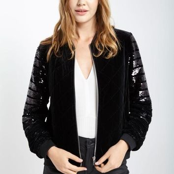 Sequin Long Sleeve Velvet Quilted Bomber Jacket