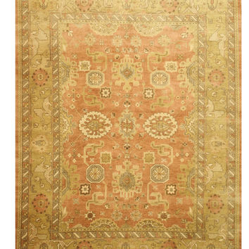 Hand-knotted Wool Peach Traditional Oriental Oushak Rug