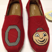 Ohio State Custom Hand Painted Painted TOMS Shoes