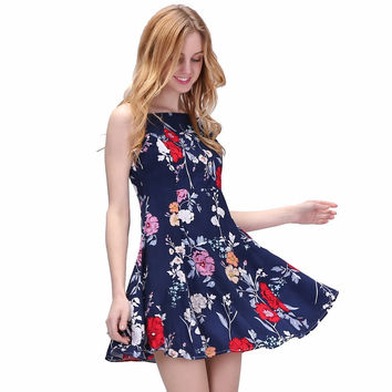Bohemia Vintage Dresses Women Floral Short Dress Beach Ladies Boho Slim Elegant Vestidos Party Sexy Clothing Female Summer 2017