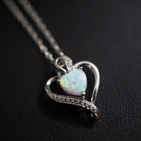 Full Sterling Silver Opal Heart Necklace, CZ Pendant USA