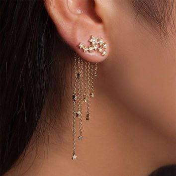 1 Pair Fashion Gold/ Silver Color Star Streamlined Tassel Earrings