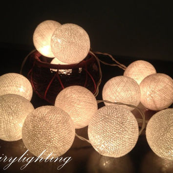 Cotton Ball Lights for home decoration,wedding patio,indoor string lights,bedroom fairy lights,20 pieces , white tone