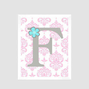 Gray First Initial on Pink Damask with Flower, Baby Nursery Art CUSTOMIZE YOUR COLORS 8x10 Prints Nursery Decor Print Art Baby Room Decor