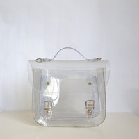 Bag number 3 Clear transparent plastic satchel by goldenponies