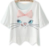 Scalloped Cat Print Tee