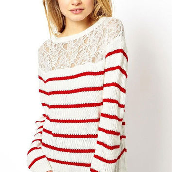 Red-stripes Lace Panel Jumper