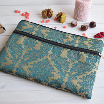 Damask MacBook 13 sleeve with zipped pocket, MacBook Air Pro 13 Case, Mac Pro 13 Retina, Mac 12 case, Mac Air 11 Case, MacBook 15, iPad Pro