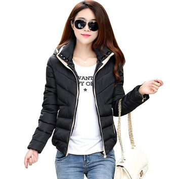 Womens New Jacket Women Autumn Winter Short Coats Solid Hooded Down Cotton Padded Slim Warm Pockets