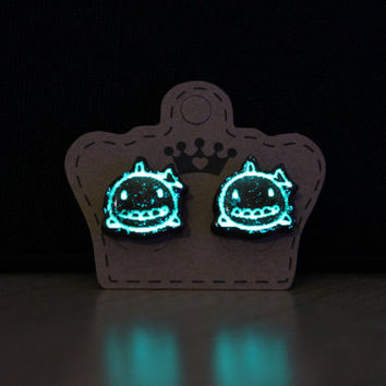 Handmade Glow in the Dark Wooden Shark Earrings. Adorable Animal Glowing Earrings. Girls Stud Earrings.