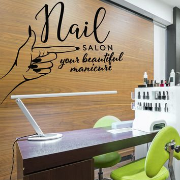Vinyl Wall Decal Nails Salon Studio Logo Manicure Signboard Stickers (2653ig)