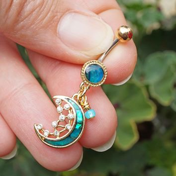 MOP Crescent Moon and Stars Gold Belly Button Ring