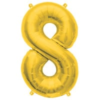 Metallic Gold Foil Number 8 Balloon