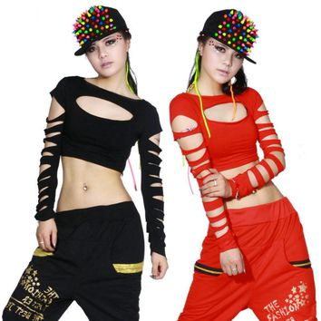 2015 New Fashion dance hip hop short top female Jazz cutout costume neon performance wear vest Sexy hollow out costumes shirt