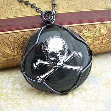 Pirate Necklace with treasury map - Jolly Roger Pendant - wire wrapped skull and crossbones - pirate jewelry