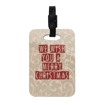 "Sylvia Cook ""We Wish You A Merry Christmas"" Holiday Decorative Luggage Tag"