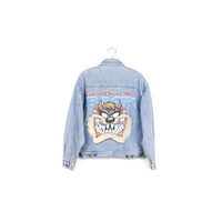 90s TAZ denim jacket / vintage 1990s / looney toons / grunge / medium