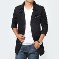 Amtify Mens Short Trench with Zipper Details