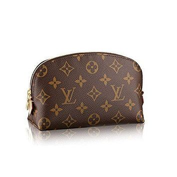 LV Women Shopping Leather Tote Louis Vuitton Monogram Canvas Cosmetic Pouch M47515 Tagre™