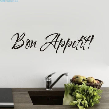 Fashion Heaven 57*14cm 1PC Vinyl Wall Stickers Quote Bon Appetit Dinning Room Decor Kitchen Decals Art,jul 20