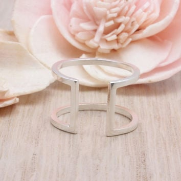 925 sterling silver Open bar H shape ring