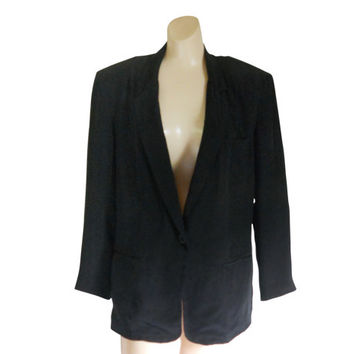 Silk Blazer Black Blazer Ladies Blazer Women Blazer Women Clothing Women Clothes Ladies Clothing Ladies Clothes 90s Blazer Black Clothing