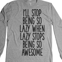 Lazy is Awesome-Unisex Heather Grey T-Shirt