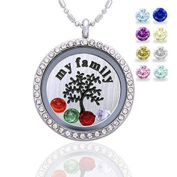 Family Tree Life Floating Living Memory Locket Pendant Necklace Birthstone, All Charms Included