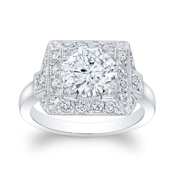 Ladies Platinum antique vintage engagement ring 0.33 ctw G-VS2 diamonds with 2ct (8mm) Round Brilliant White Sapphire Center